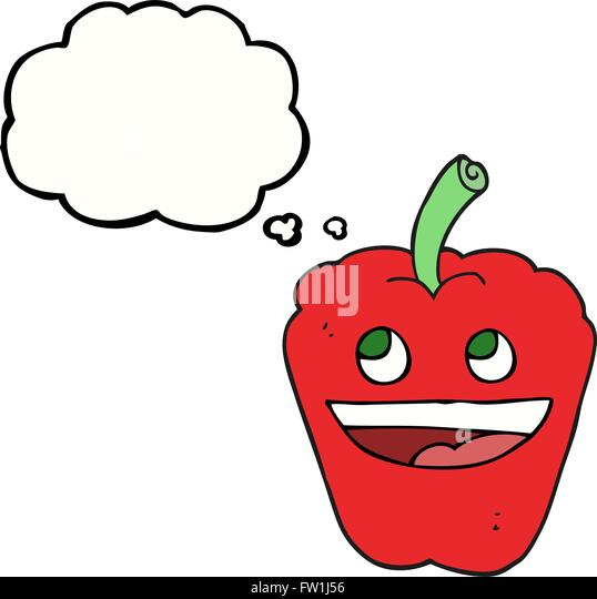 freehand drawn thought bubble cartoon pepper - Stock Image