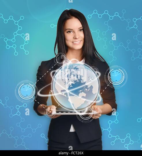 businesswoman with tablet pc control the world market finance - Stock-Bilder