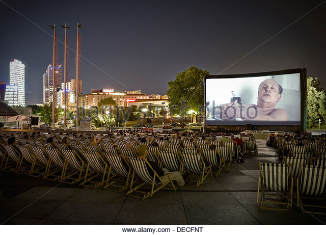Berlin, Germany, Movies on the Piazzetta of the Cultural Forum - Hitchcock - Stock Image