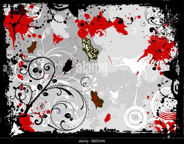 Decorative floral grunge design with butterflies - Stock-Bilder