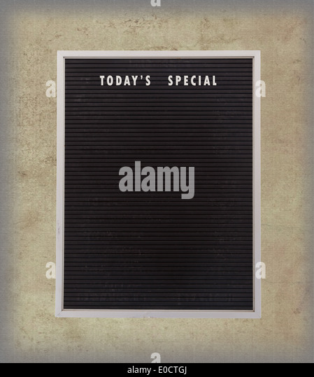 Empty restaurant board stand (people stopper) with today's special isolated on vintage background - Stock-Bilder
