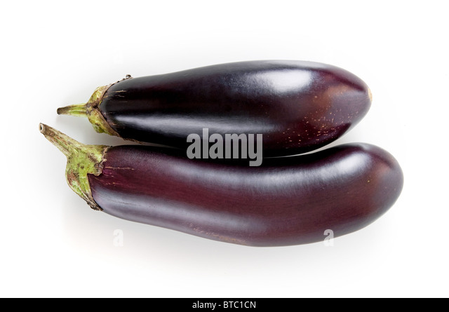 fresh eggplant on a white background - Stock Image