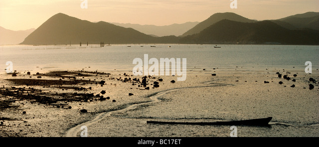 South Korea, South Jeolla Province, landscape of sea shore at low tide - Stock Image
