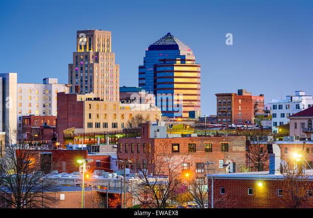 Durham, North Carolina, USA downtown skyline. - Stock Image