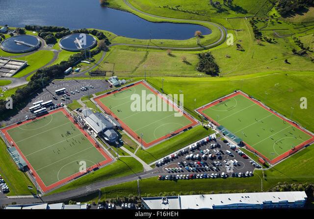 Rosedale Hockey Stadium, Rosedale South Park, Auckland, North Island, New Zealand - aerial - Stock Image