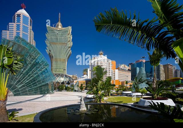 China Macao Macau city Jardim of the Artes Grand Lisboa casino casino ball sphere reflecting mirror buildings constructions - Stock Image