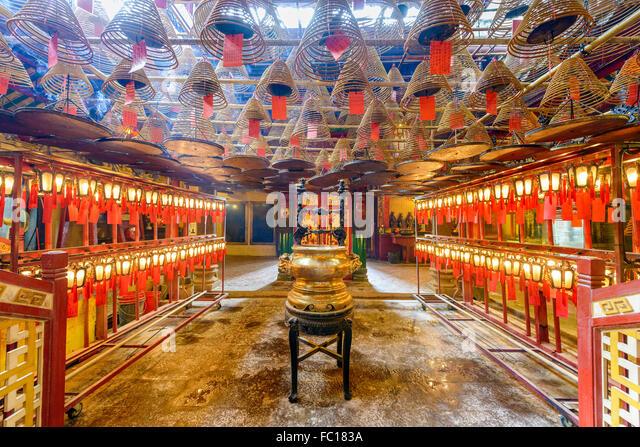 The interior of Man Mo Temple in Hong Kong, China. - Stock Image