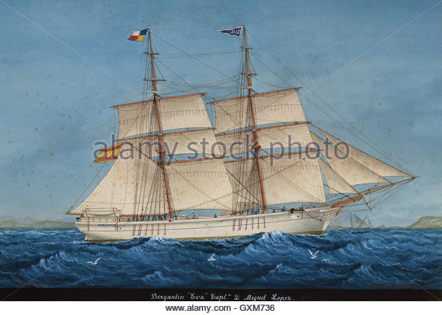 Brigantine Eva. Built in Lloret de Mar, Catalonia (Spain). Watercolor by Jose Pineda Guerra (1837-1907), 1894. Maritime - Stock-Bilder
