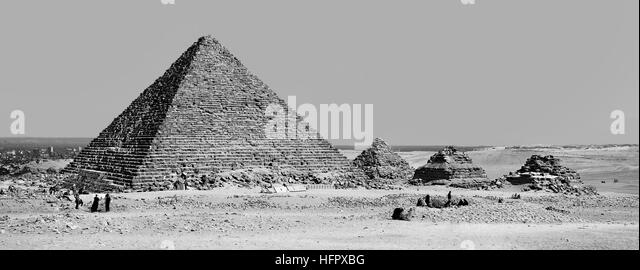 Pyramids of Giza, Egypt - Panoramic - Stock Image