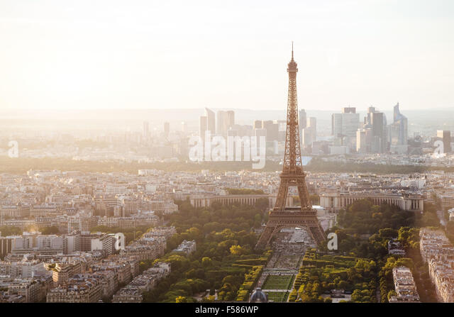 beautiful view of Paris with Eiffel tower - Stock Image