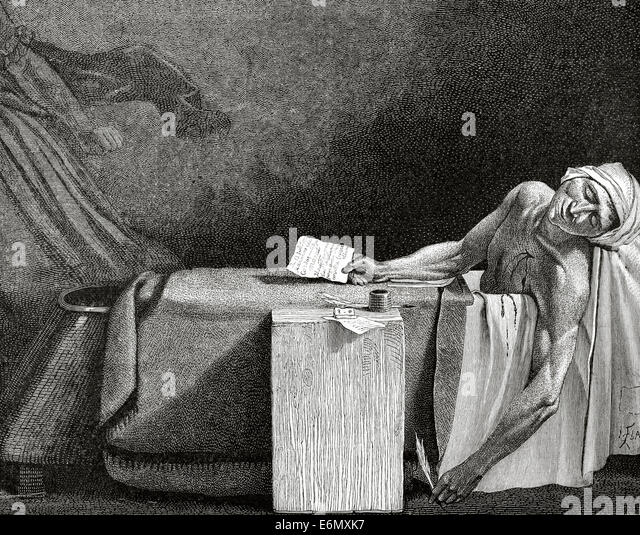 Jean-Paul Marat (1743- 1793). Physician, political theorist and scientist. The death of Marat. Engraving by L. Flame. - Stock Image