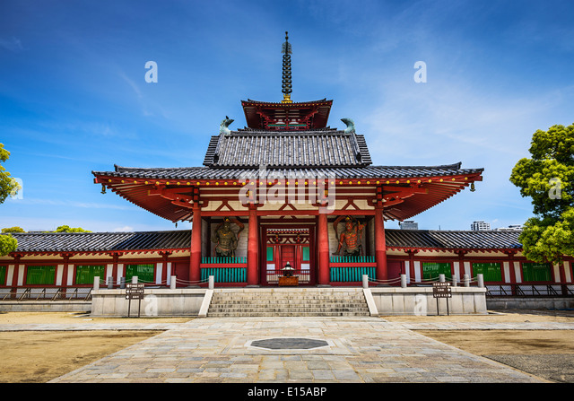 Shitennoji Temple, Osaka, Japan. It is the first officially admistrated Buddhist Temple in Japan. - Stock Image