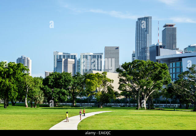 Miami Florida Museum Park city skyline skyscrapers high rise buildings office condominium American Airlines Arena - Stock Image