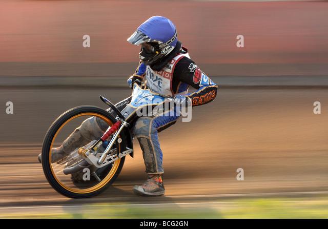 Speedway racing at Svansta race track in Nyköping, Sweden. Team Griparna. - Stock Image