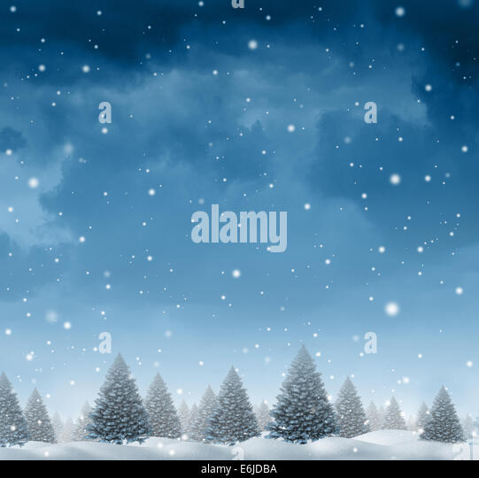 Winter snow background concept with a cold blue forest of pine trees on a snowing holiday night sky as a design - Stock-Bilder