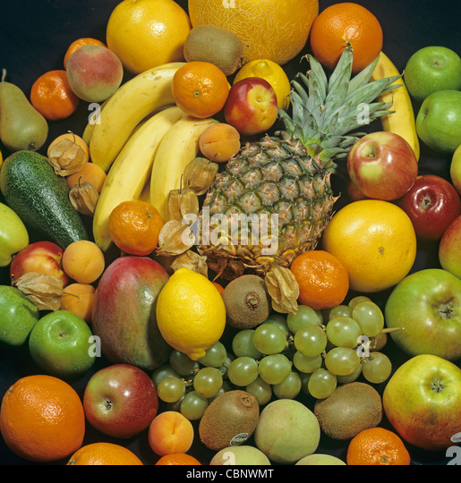 Tropical fruits bought in a supermarket - Stock Image