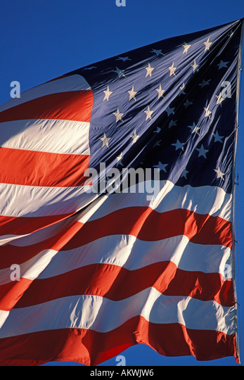 Flags, American Flag in wind Stock Photo