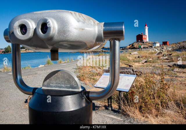 Spotting scope at Fisgard Lighthouse and Fort Rodd Hill, Victoria, Vancouver Island, British Columbia, Canada - Stock Image