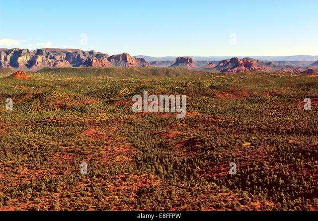 USA, Arizona, Yavapai County,  Sedona, View of Red Rock Valley from Doe Mountain - Stock Image