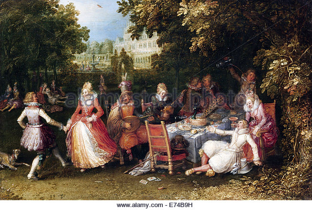 The outdoor party - by David Vinckboons, 1610 - Stock Image