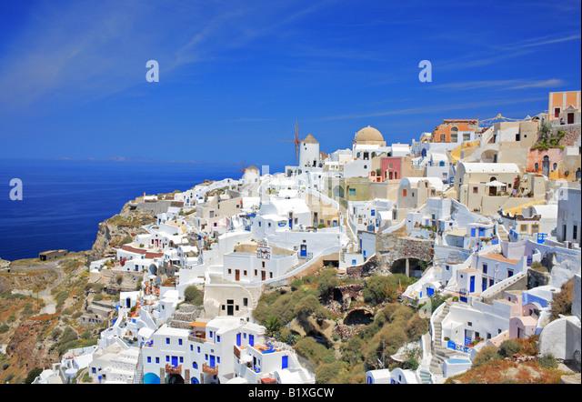Oia village on Santorini island - Stock-Bilder