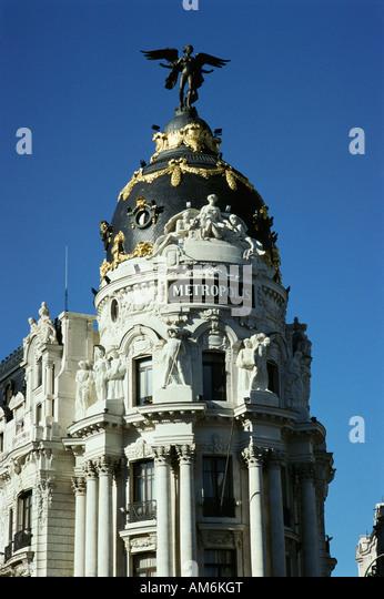 Madrid Spain Metropolis building on the Gran Via - Stock Image