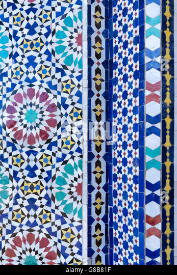 Mosaic tile work. Detail of the door of the Royal Palace in Fès, Morocco. - Stock Image