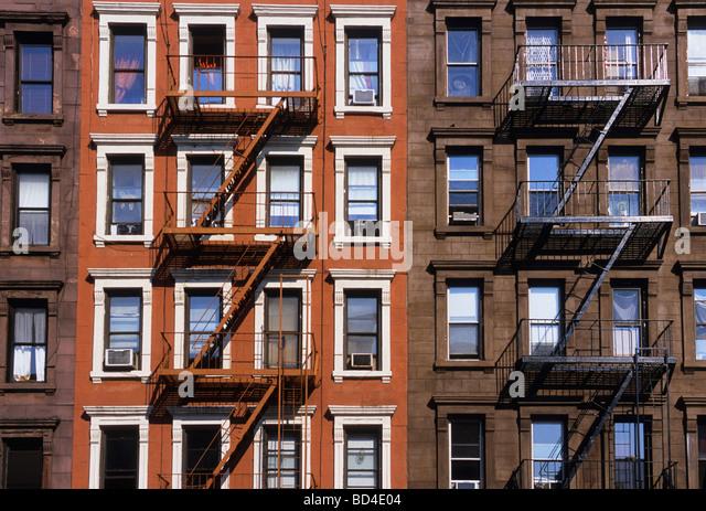 USA New York City Restored Tenement Buildings NYC USA - Stock-Bilder