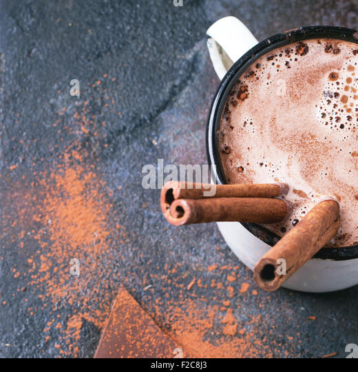 Hot chocolate with cinnamon - Stock Image