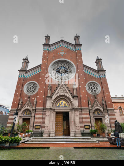 Facade of St. Anthony of Padua Church, the largest Roman Catholic Church in Istanbul, Turkey - Stock Image