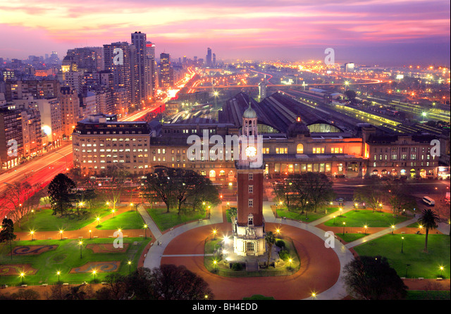 Aerial view of 'Torre Monumental' (Monumental tower) and Retiro neighborhood, at dusk. Buenos Aires, Argentina, - Stock Image