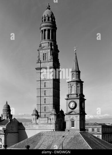 Victoria Tower of the Municipal Buildings and spire of Wellpark Mid-Kirk in Greenock Inverclyde District Scotland - Stock Image