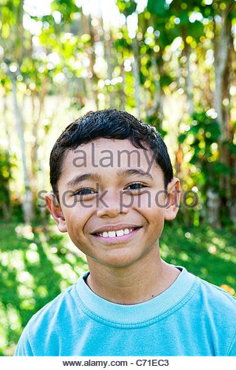 Boy smiling, Cook Islands. - Stock Image