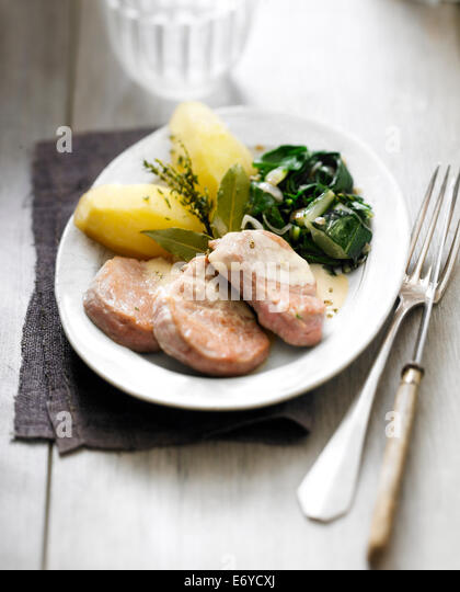 Pork Filet mignon with green pepper sauce,sauteed beets and boiled potatoes - Stock Image