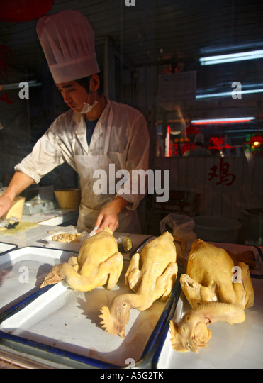Preparing Chickens For Food in old town, Shanghai ,China, asia - Stock Image