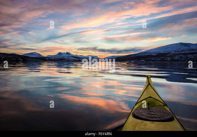 Beautiful calm water kayaking - Stock-Bilder