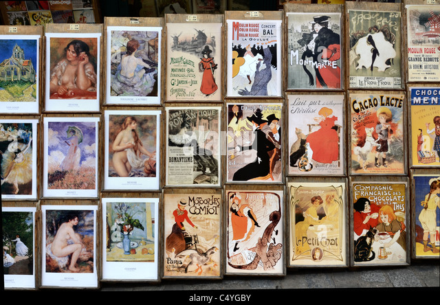 Reproductions of Impressionist art and advertising posters on sale in Montmartre, Paris. - Stock Image