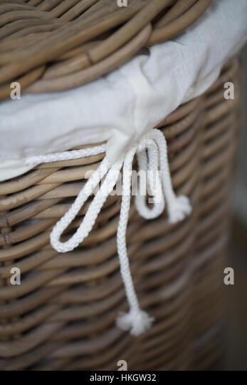 closed wicker basket. rope, lid, handmade, pattern. - Stock Image
