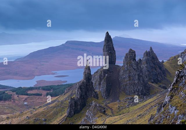 Old Man of Storr on the Isle of Skye, Scotland. Autumn (November) 2012. - Stock Image