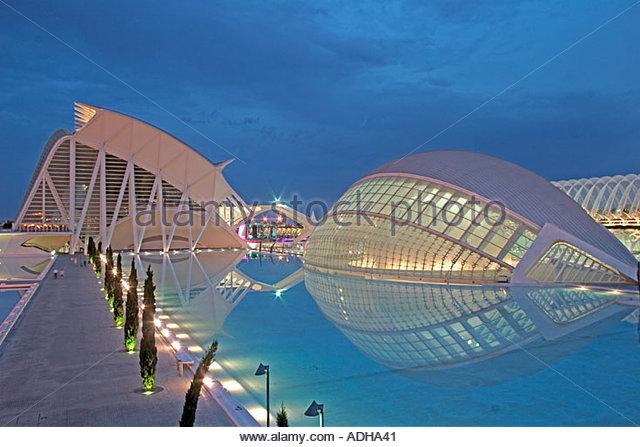 Spain Valencia City of sciences and arts by architect Santiago Calatrava twilight  - Stock Image