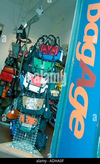 Berlin Kreuzberg bagage bag shop Bergmannstreet - Stock Image