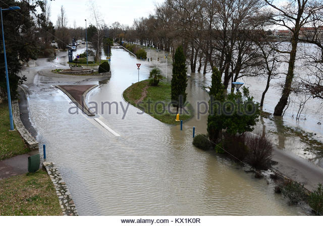 Véronne France 6 January 2018 The photo shows flooding of roads in Ardèche at Voulte-Sur-Rhône in - Stock Image
