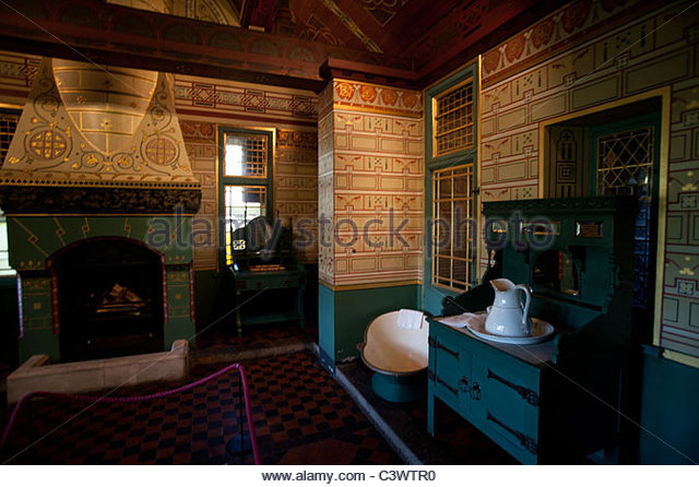 Interior Wallpaper Fireplace Stock Photos amp Interior  : bathroom at castell coch c3wtr0 from www.alamy.com size 640 x 446 jpeg 84kB