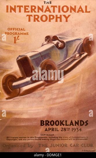 Programme for the Brooklands International Trophy, 1934. - Stock Image