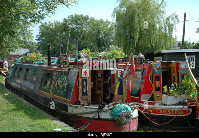 narrow boat barges on canal - Stock Image