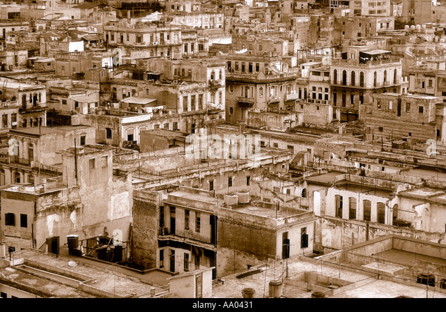 Overview of buildings in the historic section of Havana Cuba Caribbean - Stock Image