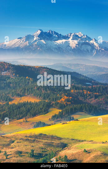 Tatra Mountains - view from Pieniny region, Poland - Stock Image