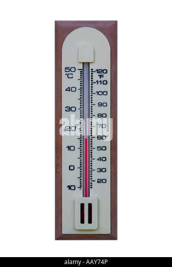 Plastic thermometer isolated on a white background - Stock Image