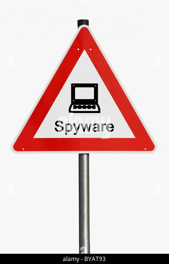 Danger sign with a laptop, computer, spyware - Stock Image