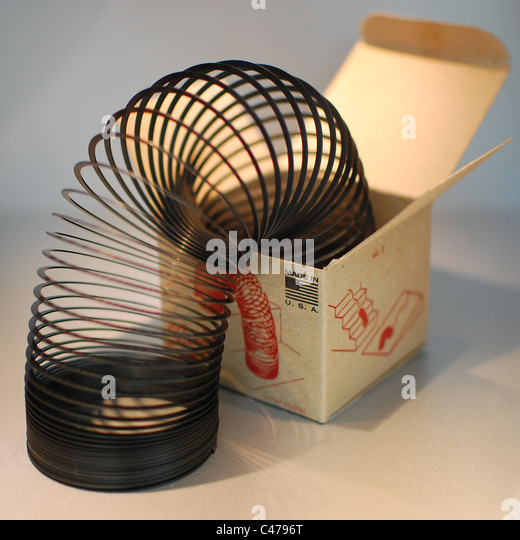 Original boxed slinky toy - Stock Image